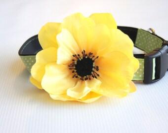 Yellow Poppy Silk Flower Dog Collar Attachment