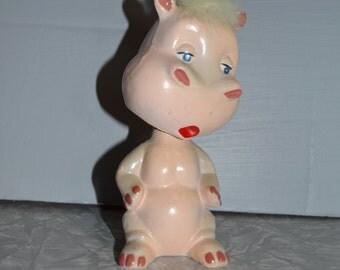 Vintage Pink Composition Hippo Bobble Head ~ Hippo Nodder ~ Pink Hippo Figurine ~ Epsteam