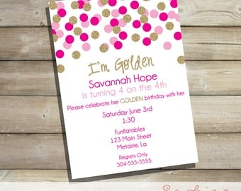 Golden Birthday Invitation, Printable Gold Glitter and Pink Polka Dot Invitation, Bachelorette Party, Bridal Luncheon, Engagement Party