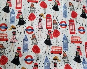 London Theme Fabric by the Yard-Fashion Fabric -Quilt Fabric-Apparel Fabric-Home Decor Fabric-Fat Quarter-Craft Fabric-Fat Quarters