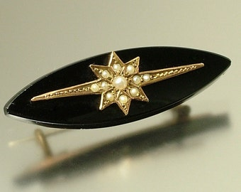 Antique/ estate jewelry Victorian 1800s,  French jet and seed pearl, black, mourning costume pin brooch - goth jewellery gothic