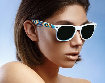 White Frame Beaded Sunglasses- Native American Handcrafted
