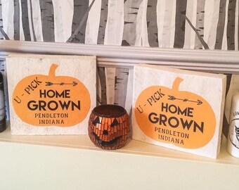 Rustic Reclaimed Solid Wood Pumpkin Sign