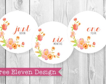 Floral PRINTABLE Monthly Stickers
