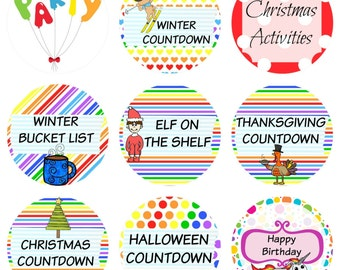 108 Planner Stickers -- Countdowns for Christmas, Winter, Birthday, Thanksgiving, Halloween & More