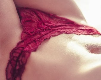 Shorties - Lingerie  red Strawberry // Undies Bra in Sheer French Lace handmade of Fransik