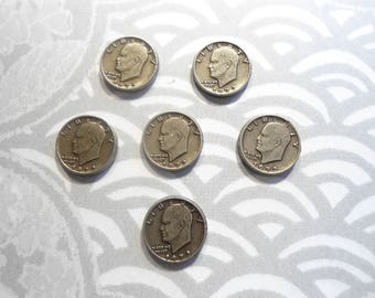 6 Silverplated Eisenhower 10mm Coin Charms Findings
