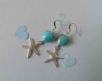 Blue beaded starfish earrings