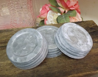 Three REPRODUCTION Galvanized Zinc Look Unlined Regular or Standard Mouth Canning Jar Lids For Crafts or Decor