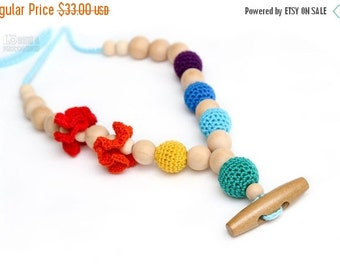 Christmas Sale Eco-Friendly Rainbow Teething necklace/Breastfeeding mom necklace.Crochet Nursing necklace with wooden button.