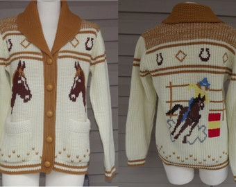 1970s men's Western cardigan sweater rodeo barrel race design