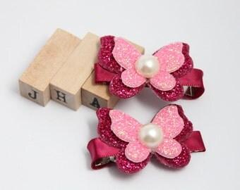 Children/Girls/Baby girl hair clip - Glitter Butterfly Red
