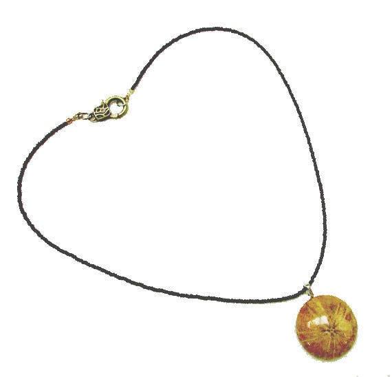 fossil sand dollar necklace -  echinoderm pendant -  handmade bead necklace