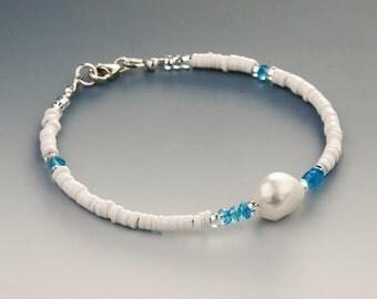 White Heishi Bracelet w Blue Topaz Gems & Genuine Baroque Pearl, Sterling Silver, Stylish Bracelet, Elegant Shell Bracelet, Gem Bracelet