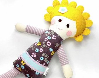 organic jersey doll | Cleo snuggle doll | pink blue and brown organic knit cloth doll |  rag doll | handmade doll | stripes and flowers