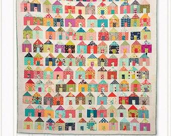 PATTERN:  VILLAGE - Jumble - A Charm Pack mash-up! - Miss Rosies Quilt Co. -  House Quilt pattern -Charm Pack Friendly - Scrap Quilt Pattern