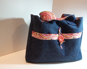 Market Tote in Paisley and Denim