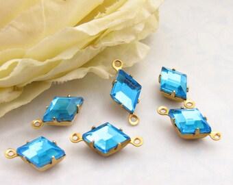 Vintage Aqua Bohemica Diamond Shape 10x7mm Rhinestones Glass Kite Stones in Brass or Antique Silver Drop or Connector Settings – 4