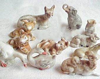 Antique German Putz Animals - Vintage Tiny Porcelain Creatures - Farm & Jungle - Small China Ceramic Under the Christmas Tree Menagerie
