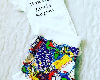 Rugrats,Onsie, t shirt,  Shorties, cotton diaper cover,  nb, size 3, 6, 9, 12, 24 months, 2T