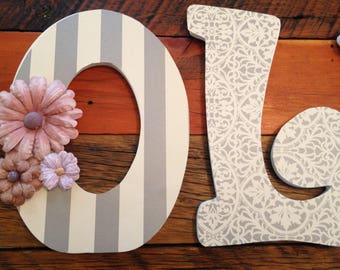 Custom Nursery Letters- Personalized Name-OLIVIA-Grey-white-purple-lilac- nursery-Wooden Hanging Letters - Honey Boo Boutique