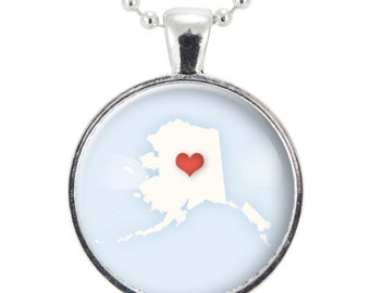 Alaska State Necklace, I Love Alaska Heart Necklace (0564S25MMBC)