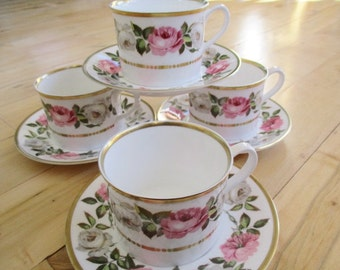 1969 Royal Worcester Royal Garden Teacup Saucer sets. 4 sets(cup/saucer)  included Very good  Fine China China Galore