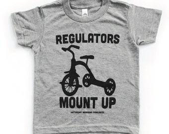 Funny Baby Onesies. Kids tshirt. Baby Boy clothes. Best Selling Items. Baby tshirt. Regulators Mount Up Grey kids shirt. Baby boy tshirt