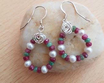 Hoop gemstone earring, Emerald Ruby earring, Pearl earring, Semi precious gem, Women's jewellery, Handmade jewellery