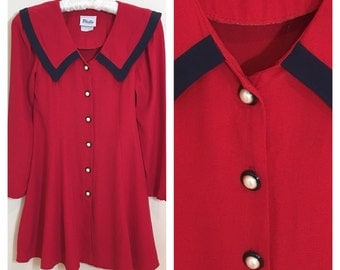 90s Philly California Red and Navy Fit and Flare Sailor Dress, Girls Size 14
