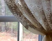 "Charming Ivory sunflower print lace curtain panel (Single Tieback  panel) 58"" x 50"""