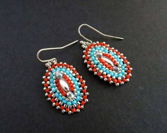 SALE:  Turquoise, Coral, and Silver or Gold Disc Beaded Earrings.  Dangle Earrings. Beadwork. Sparkly Earrings.