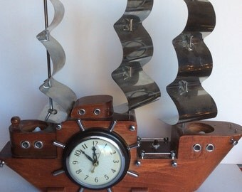 Vintage TV clock Ship with Chrome sails United Clock 1950's