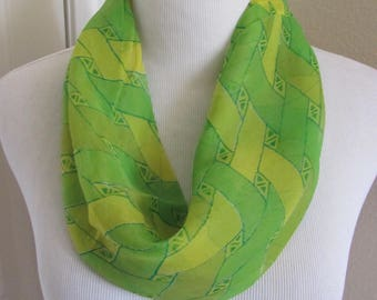 "Lovely Green Soft Sheer Cowl Scarf - 10"" x 13"" - Affordable Scarves!!!"