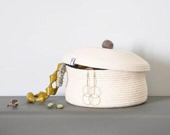 Storage basket, Jewellery basket, Sewing basket, Basket with lid, Cotton anniversary gift, Coiled rope basket, Lidded basket