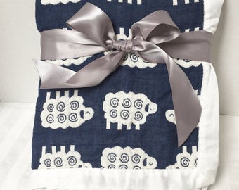Muslin Swaddle Blanket, Personalized Gauze Blanket, Muslin Blanket, Muslin Swaddle, Baby Keepsake Blanket, Birth Announcement Blanket, Lamb