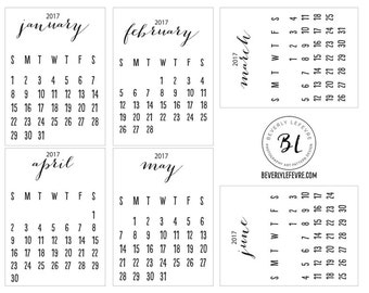 2017, calendar cards, stationery, scrapbooking, Journaling cards, pocket cards,