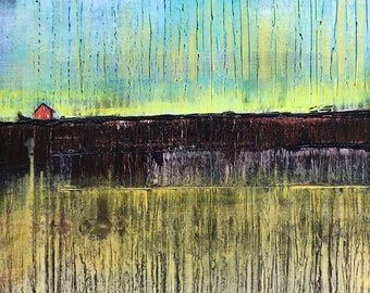 Abstract Americana original painting by artist Rafi Perez Mixed Medium on Canvas 24X30