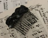 Braided Vinyl Record Hair Comb Small - Upcycled Vinyl Record - Black Hair Accessory - Goth Hair Comb - Vinyls Record Accessory - Vinyl Clip