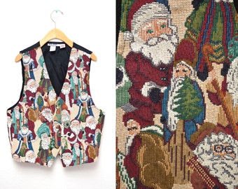 90s Santa Clause Woven Vest Ugly Christmas Unisex Medium