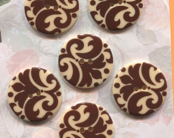 Set of 6 Large Damask Cream & Brown Plastic Buttons-Item#295