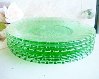 Green Depression Glass Plates/Vintage Vaseline Glass Plates /Set Of 6/For Serving/Wedding/Tea Party/Shabby Chic Decor