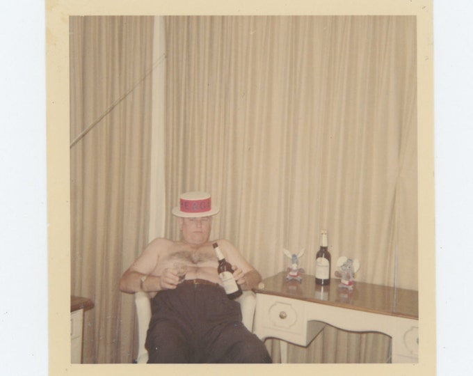 Reagan Supporter Drinking in Hotel Room, c1960s Vintage Snapshot Photo (611520)