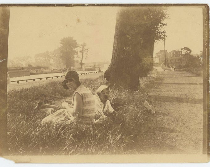 Couple by Roadside, c1920s: Vintage Snapshot Photo  (72552)