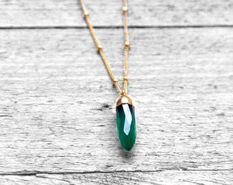 GREEN POINT necklace with dark green onyx | gold