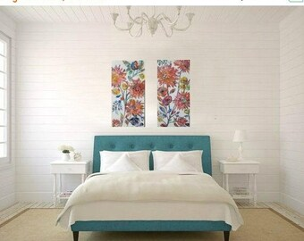 Spring Sale Flower garden paintings, set of 2, Abstract flowers, Colorful, Textured Art, Hidden Garden collection 12 x 24 each