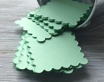 Mini Note Cards -  Square Scallop 2x2 inches set of 10 -  Mint Green