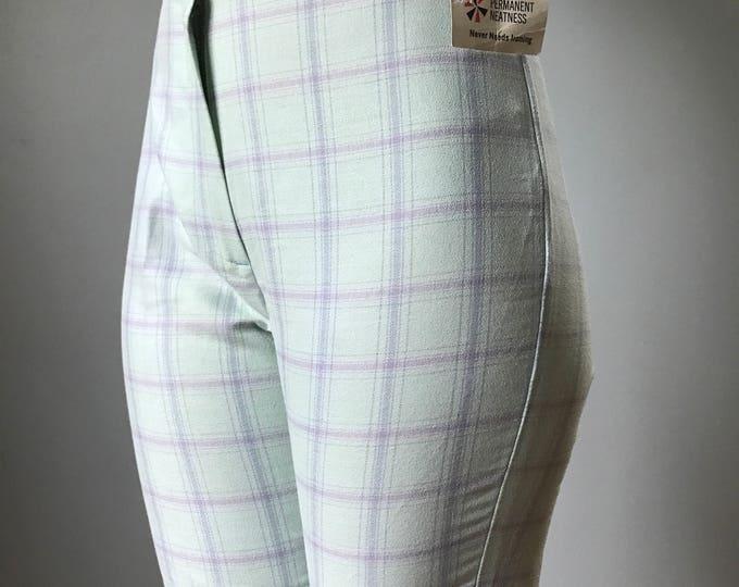 Vintage 60s Light Blue Plaid Jamaica Shorts 3 Sizes