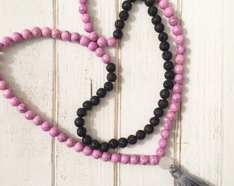 Love pink mala beads. 108 mala beads. Yoga mala necklace. Pink magnesite mala beads. Meditation beads