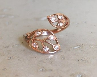 Leaf Diamond Engagement Ring- Diamond Leaf Promise Ring- April Birthstone Gold Ring- Rose Gold Leaf Ring- Alternative Engagement Ring